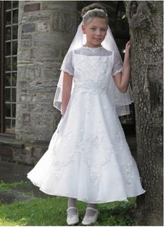 Embroidery Satin First Communion Dress