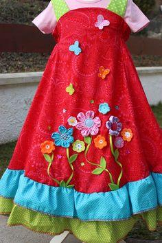 """Kleider - Kleid, """"Rosenduft"""", Gr.122-128 - ein Designerstück von Anastasiyas-Stoffmaerchen bei DaWanda"""