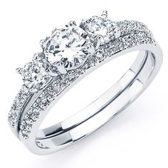 ff331dc7f Oliveti Sterling Silver White Round Cubic Zirconia Bridal-style Ring Set  Cubic Zirconia Engagement Rings