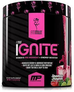 FitMiss Ignite, Women's Pre-Workout Supplement & Energy Booster for Fat Loss, Supports Energy & Workout Motivation, Strawberry Margarita, 30 Servings Protein Smoothies, Protein Muffins, Protein Snacks, Best Pre Workout Supplement, Pre Workout Nutrition, Good Pre Workout, Food Nutrition, Fit Girl Motivation, Weight Loss Motivation