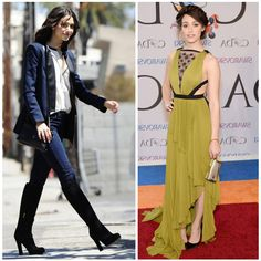 From Real Life to Red Carpet: Emmy Rossum wears James Jeans out and about in LA, and J Mendel to the 2014 CFDA Fashion Awards in NYC. Steal her style! http://jamesjeans.us/james-twiggy-bombshell