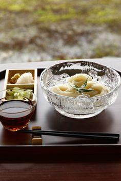 Japanese somen noodles, cold noodles summer dish.