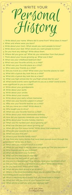 Journal prompts to start writing your own personal history. Great to use for asking parents or grandparents questions too. Creative Writing, Writing Tips, Diary Writing, Writing Journals, Essay Writing, Gratitude Journals, Journal Writing Prompts, Art Journals, Writing Inspiration