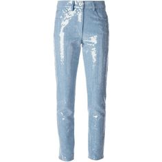 Moschino sequined cropped jeans (3.200 BRL) ❤ liked on Polyvore featuring jeans, pants, blue, 5 pocket jeans, moschino jeans, slim jeans, sequin jeans and slim fit jeans