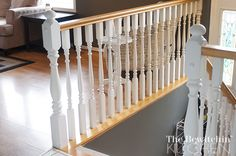 My stair spindles have taken a beating in the past year and a half we have lived here. So today I decided to freshen them up, the quick and easy way.