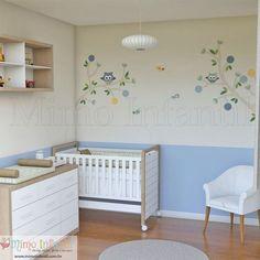 Adesivo de Parede Corujinhas Théo para decoração de quarto de bebê e infantil | SP,BH, MG, RJ, DF | Flores, árvore, corujinhas, folhas, corujas, galhos