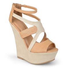 Journee Collection Women's Peep-Toe Platform Wedge Sandals