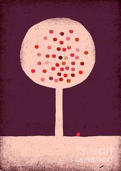 #apple #tree #appletree #illustration #kidsroom #kidsroomdecor #wallart #girlsroom #girlsroomdecor #pink #red