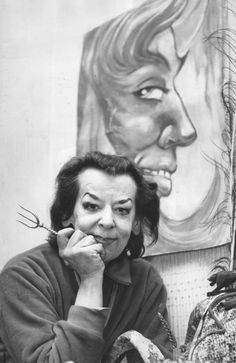 Rosaleen Norton with some of her art. Rosaleen Norton, Magick, Witchcraft, Jack Harvey, Witch History, Aleister Crowley, Magic Symbols, Church Of England, Cat Mask