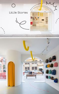 A Bright White Facade Helps Little Stories Stand Out In This Spanish Neighborhood - Fun Graphics - Ideas of Fun Graphics - Fun graphics a sans serif font and a yellow pipe are featured on the exterior of this modern retail store and guide you inside. Retail Store Design, Retail Shop, Retail Displays, Shop Displays, Merchandising Displays, Window Displays, Store Interior Design, Small Store Design, H Design