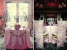 Pink Eclectic Wedding! Love the table to the left, don't love the chairs on the right but the 2 pictures came together. Everything else on this blog post is amazing!