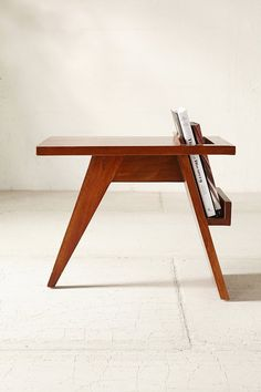 Moda Reader Side Table / for next to stove; use media holder for mail Side Table Decor, Wooden Side Table, Diy Table, Wood Table, Lamp Table, Side Tables, Wooden Furniture, Home Furniture, Furniture Design