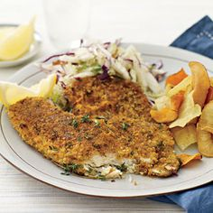 Weeknight Date Night Menu, ENTREE   Cracker-and-Parmesan-Crusted Fish Fillets #RRMenuPlanner