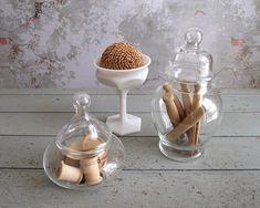 Apothecary Jars , Glass Jars with Glass Lids , Clear Glass Storage Jars , Vintage Display Jars , Terrarium Jars