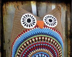 Americana Owl Crochet Pillow, Cushion, Patriotic Decor, Primitive Owl
