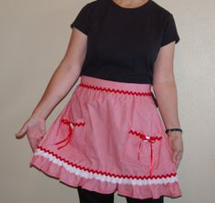 Adult Red and White Striped Half Apron by SusiesTieOneOnAprons, $18.00