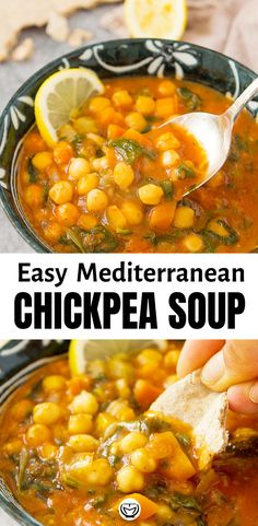 This warming, tasty and hearthy chickpea soup is ready in 25 minutes. Plus, it's made with inexpensive store cupboard staples and spinach from the freezer. Chickpea Burger, Chickpea Soup, Chickpea Recipes, Vegetarian Recipes, Cooking Recipes, Healthy Recipes, Chickpea Omelette, Chickpea Masala, Chickpea Fritters