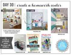 30 Day Design Challenge: The Final Day! Create a Mini Homework Center! Make a small homework station for any room in your home. All are simple DIY ideas for kid spaces. Homework Station Round-up