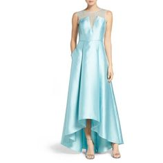 Women's Adrianna Papell Lace And Mikado Gown (€185) ❤ liked on Polyvore featuring dresses, gowns, aqua glass, blue lace dress, blue lace gown, adrianna papell dress, adrianna papell evening dresses and aqua blue dress