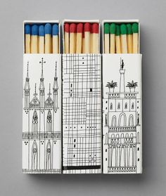 Match boxes created by design studio Happy Forsman & Bodenfors for the Swiss Architecture Museum in Stockholm. The boxes reproduce the Renaissance, international and gothic architecture. A nice souvenir to keep and collect!