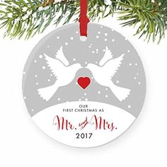3 Flat Circle Ceramic Ornament PGM-OR-44b Christmas Keepsake for Newlywed Couple Gold /& Silver Ribbon Wedding Date and Bride Groom Party Favors Personalized Wedding Gift for Couple 2019