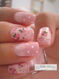 Pink roses with lace, white dots. Love the vintage style.