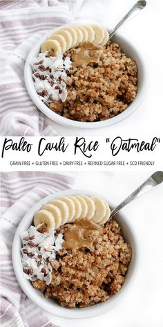 This paleo cauliflower rice oatmeal is the perfect healthy breakfast recipe. it's naturally sweetened with Paleo Breakfast, Breakfast Recipes, Free Breakfast, Breakfast Ideas, Grain Free, Dairy Free, Gluten Free, Paleo Dairy, Vegan Keto