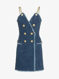 Shop Balmain Denim Mini Dress from our Day Dresses collection. Stage Outfits, Kpop Outfits, Denim Fashion, Fashion Outfits, Balmain Dress, Jeans Rock, Classy Casual, Denim Outfit, Western Outfits
