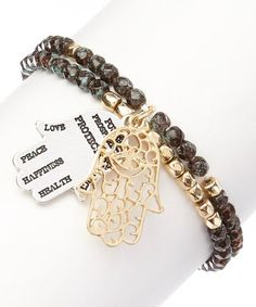 Love this Two-Tone & Olive Green Filigree & Inspirational Hamsa Stretch Bracelet on #zulily! #zulilyfinds