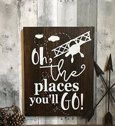 Oh the places you'll go nursery décor, oh the places you'll go, vintage airplane nursery décor, airplane baby shower gift