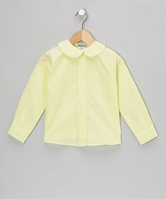 Look at this Genuine School Uniform Yellow Peter Pan Long-Sleeve Button-Up - Girls on #zulily today!
