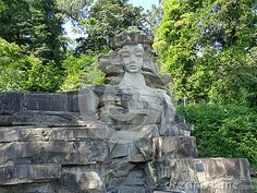 Sculpture of the woman carved in stone, landmark Sochi, Russia