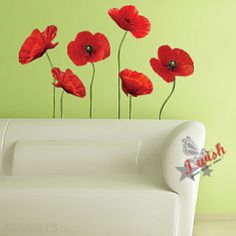 red poppy wall decals | Red Poppy Flowers Removable Wall Stickers Nice Home Decor in Merlin ...