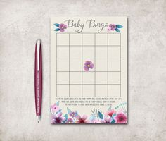 Baby Shower Bingo, Floral Baby Shower Games Package, Boho  Baby Girl Shower Games. tranquillina.etsy.com