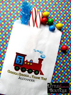 Train Favor bags, Train Birthday party, Locomotive, candy bags, Candy Buffet, Birthday party, Sweets, Treats, Set of 24. $19.75, via Etsy.