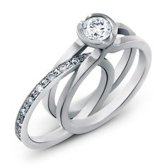 Unity Brilliant in Platinum with diamond and removable diamond set wed Pave Ring, Diamond Rings, Contemporary Engagement Rings, Unity, Diamonds, Wedding, Jewellery, Collection, Casamento