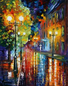 City Lights Painting by Leonid Afremov - City Lights Fine Art Prints and Posters for Sale