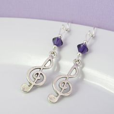 Purple Music Earrings Treble Clef Earrings by BeadBrilliant, $16.00
