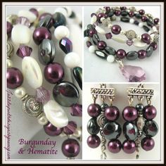 Bracelet bangle stack wrap Purple Swarovski Crystal gemstone Handmade. Highly unique combination of Mother of Pearl shell, Purple Swarovski Crystal, hematite gemstone, black and Metal beads to accentuate the purple and white. Bracelet has four unique patterns within each band and a gorgeous crystal pendant on one end.