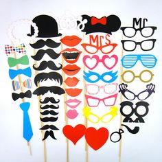 28x Christmas Photo Booth Props Mustache On A Stick XMAS Birthday Party Decor