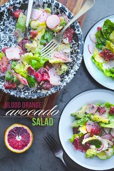 Blood Orange & Avocado Salad || blood orange, radish, cilantro, butter lettuce, avocado, almond