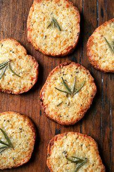 Parmesan-rosemary crackers.