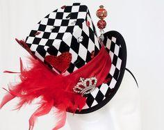 Alice in Wonderland Birthday Queen of Hearts Mad Hatter Hats Mad Hatter Party, Mad Hatter Tea, Harlequin Pattern, Leopard Print Fabric, Hat Blocks, Steampunk Hat, Fabric Hearts, Alice In Wonderland Tea Party, Crazy Hats