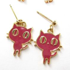 $4 Small Kitty Cat Animal Pet Dangle Stud Post Earrings in Pink and Gold