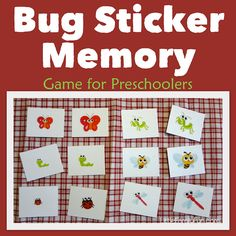 Easy Memory game for preschoolers using bug stickers.