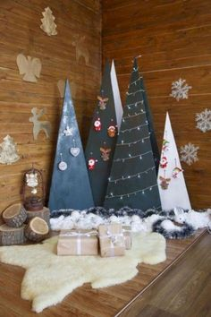 plywood cone Christmas trees with ornaments and lights Christmas Stage, Christmas Mini Sessions, Cone Christmas Trees, Christmas Minis, Christmas Pictures, Christmas Crafts, Christmas Ornaments, Christmas 2017, Xmas Tree