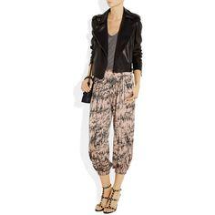 T-Bags Cropped printed satin pants ($73) via Polyvore