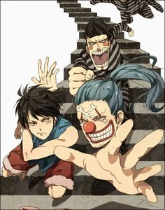 Escaping Impel Down!  Luffy, Buggy and Mr. 3  One Piece