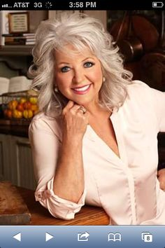 Food Network Fires Paula Deen For Rant On Slaves. I did not think Food Network would do it. Go figure.Miss Paula has since apologized for her mistakes. Paula Deen, Medium Hair Styles, Curly Hair Styles, Corte Y Color, Layered Haircuts, Silver Hair, Hair Dos, Pretty Hairstyles, Hair Lengths