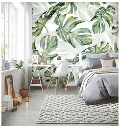 Rainforest Tropical Green Leaves Wallpaper Wall Murals, Tropical Palm Leaves Green Tropical Plants Wall Murals Wallpaper for Home Decor - Tapeten Ideen Tropical Bedroom Decor, Tropical Bedrooms, Tropical Interior, Tropical Houses, Tropical Decor, Bedroom Green, Tropical Plants, Tropical Colors, Palm Plants